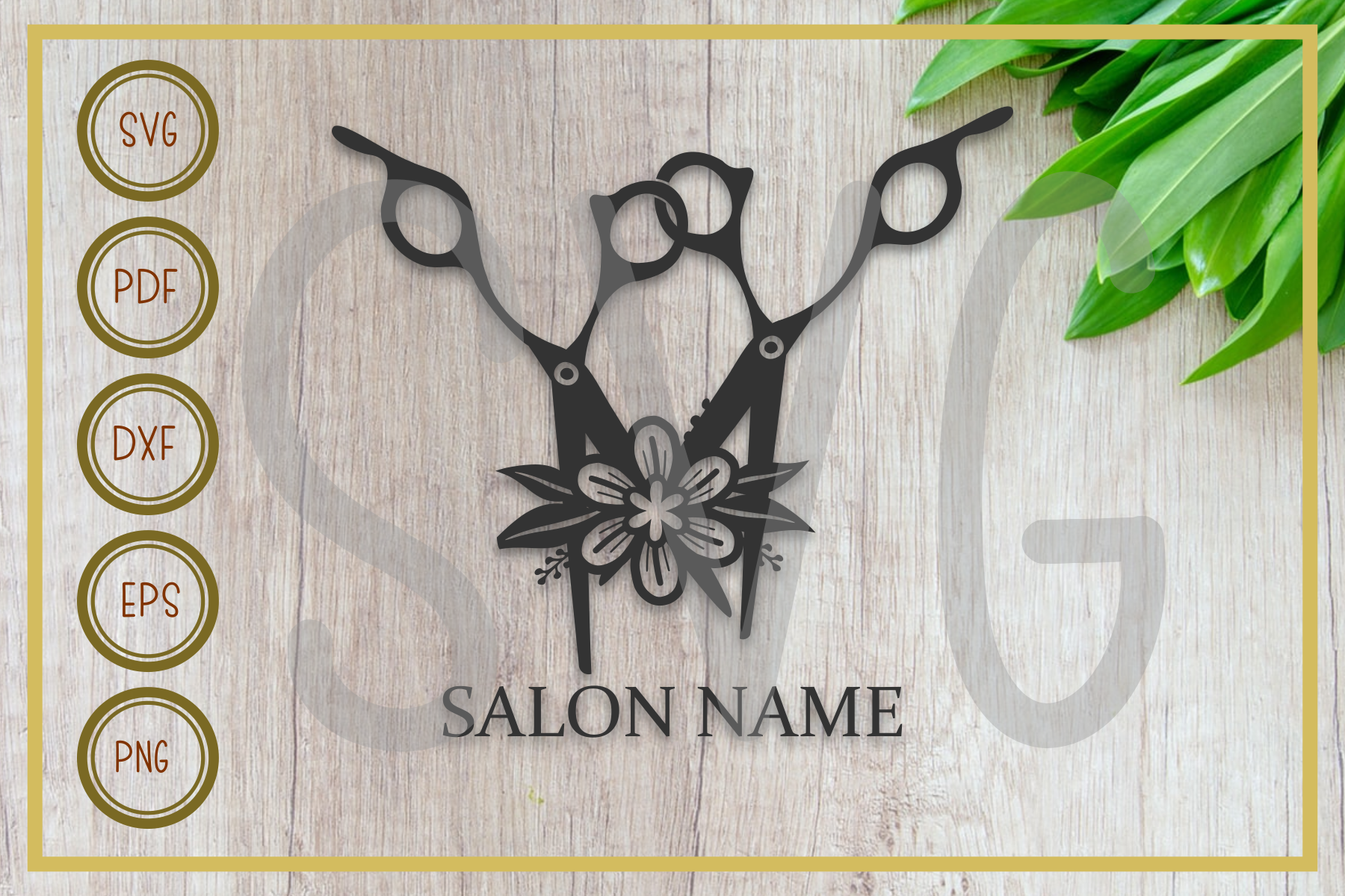 Download Free Salon Two Scissor With Flower Graphic By Rizuki Store Creative Fabrica for Cricut Explore, Silhouette and other cutting machines.