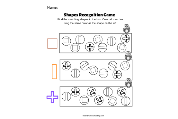 Download Free Shapes Recognition Game Graphic By Lifeandhomeschooling for Cricut Explore, Silhouette and other cutting machines.