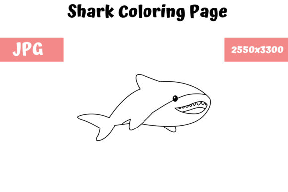 Print on Demand: Shark Coloring Book Page for Kids Graphic Coloring Pages & Books Kids By MyBeautifulFiles