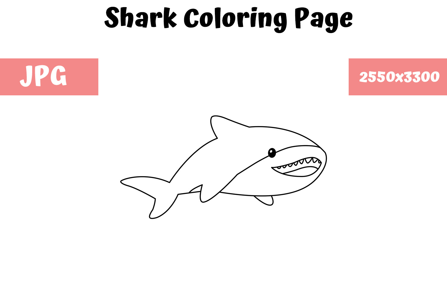 - Shark Coloring Book Page For Kids (Graphic) By MyBeautifulFiles