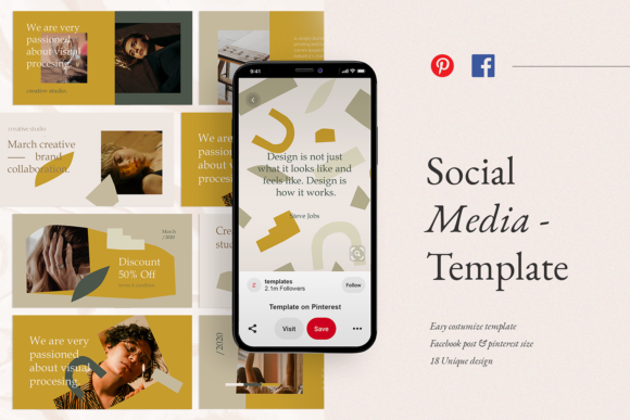 Print on Demand: Social Media Template Graphic Websites By ovoz.graphics