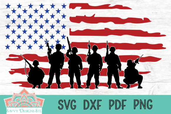 Print on Demand: Soldiers with American Flag Cut File Graphic Crafts By savvydesignsstl - Image 1