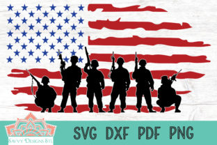 Download Free Soldiers With American Flag Cut File Graphic By Savvydesignsstl for Cricut Explore, Silhouette and other cutting machines.
