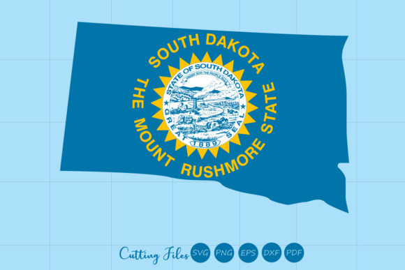 Download Free South Dakota State With Flag Background Graphic By Hd Art for Cricut Explore, Silhouette and other cutting machines.
