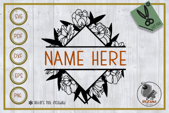 Download Free Split Monogram Split Bouquet Graphic By Rizuki Store Creative for Cricut Explore, Silhouette and other cutting machines.