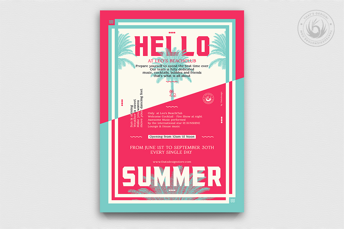 Download Free Summertime Flyer Template V4 Graphic By Thatsdesignstore for Cricut Explore, Silhouette and other cutting machines.
