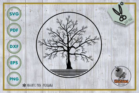Download Free Tree Dry Tree With Circle Cut File Graphic By Rizuki Store for Cricut Explore, Silhouette and other cutting machines.