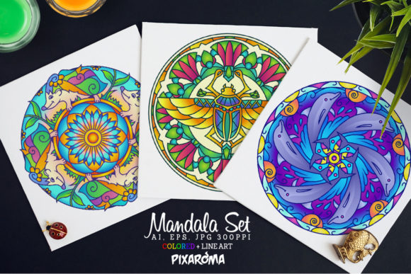Vector Animals Mandala Set Graphic Illustrations By pixaroma