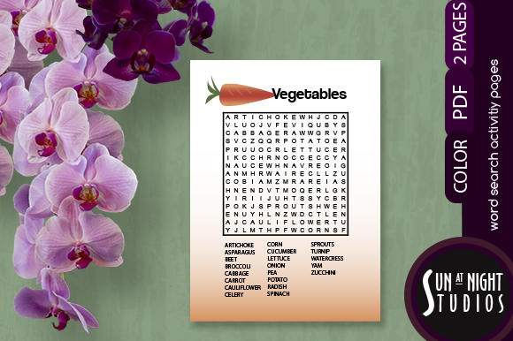Download Free Vegetables Word Search Activity Graphic By Sun At Night Studios for Cricut Explore, Silhouette and other cutting machines.