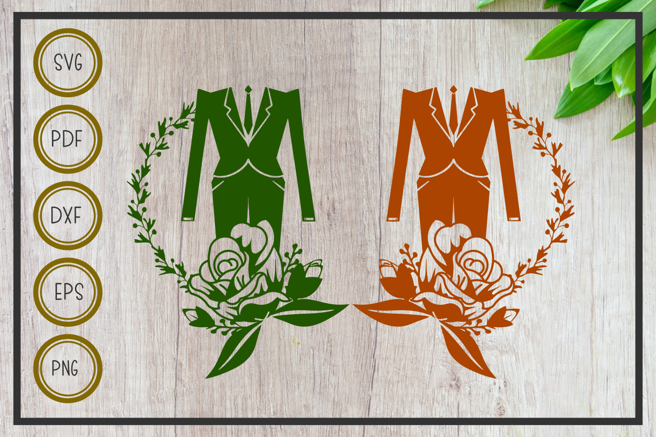 Download Free Wedding Tuxedo With Flower Cut File Graphic By Rizuki Store for Cricut Explore, Silhouette and other cutting machines.