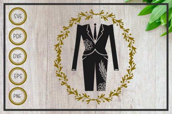 Download Free Wedding Tuxedo With Wreath Cut File Graphic By Rizuki Store for Cricut Explore, Silhouette and other cutting machines.