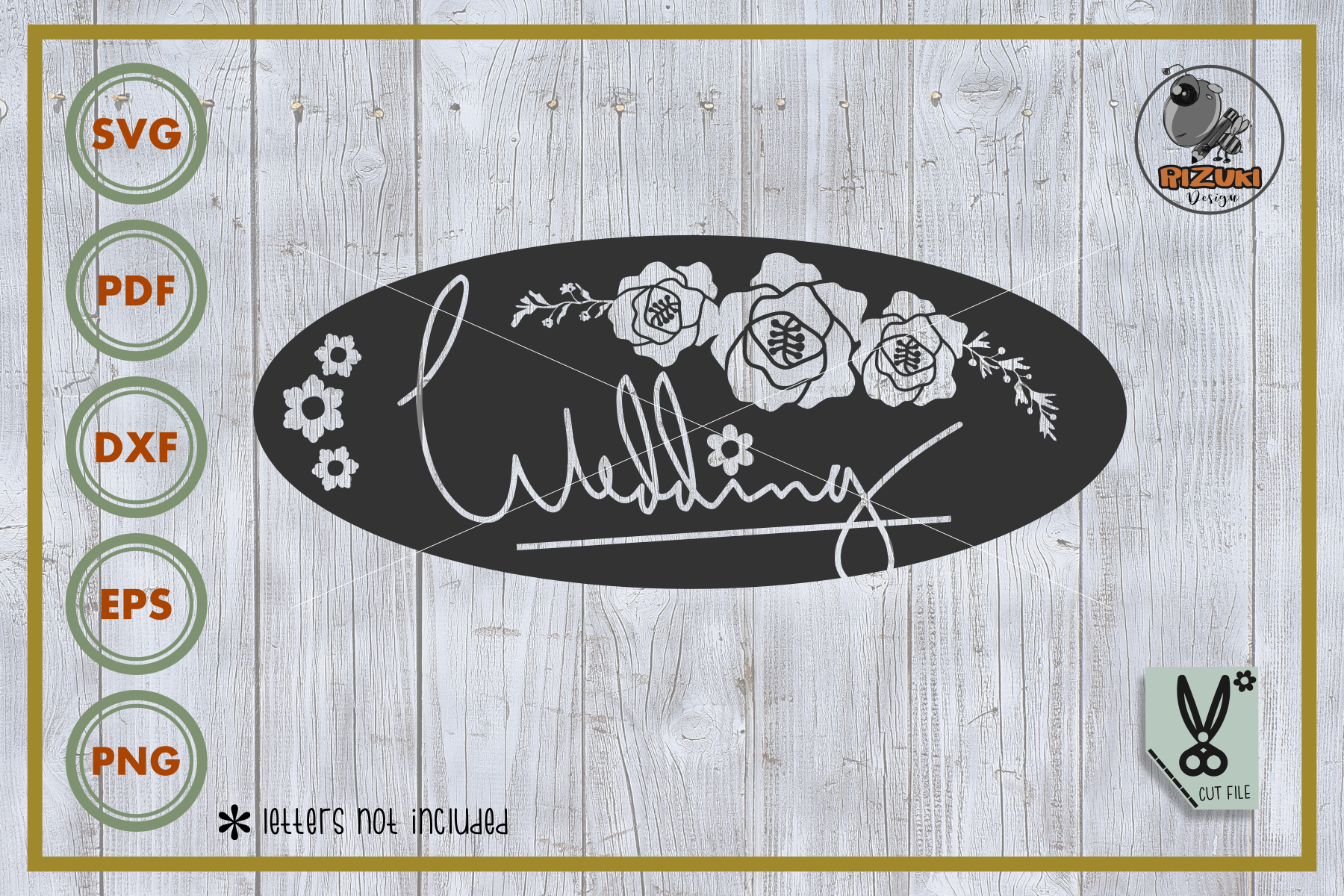Download Free Wedding Wedding With Flower Graphic By Rizuki Store for Cricut Explore, Silhouette and other cutting machines.
