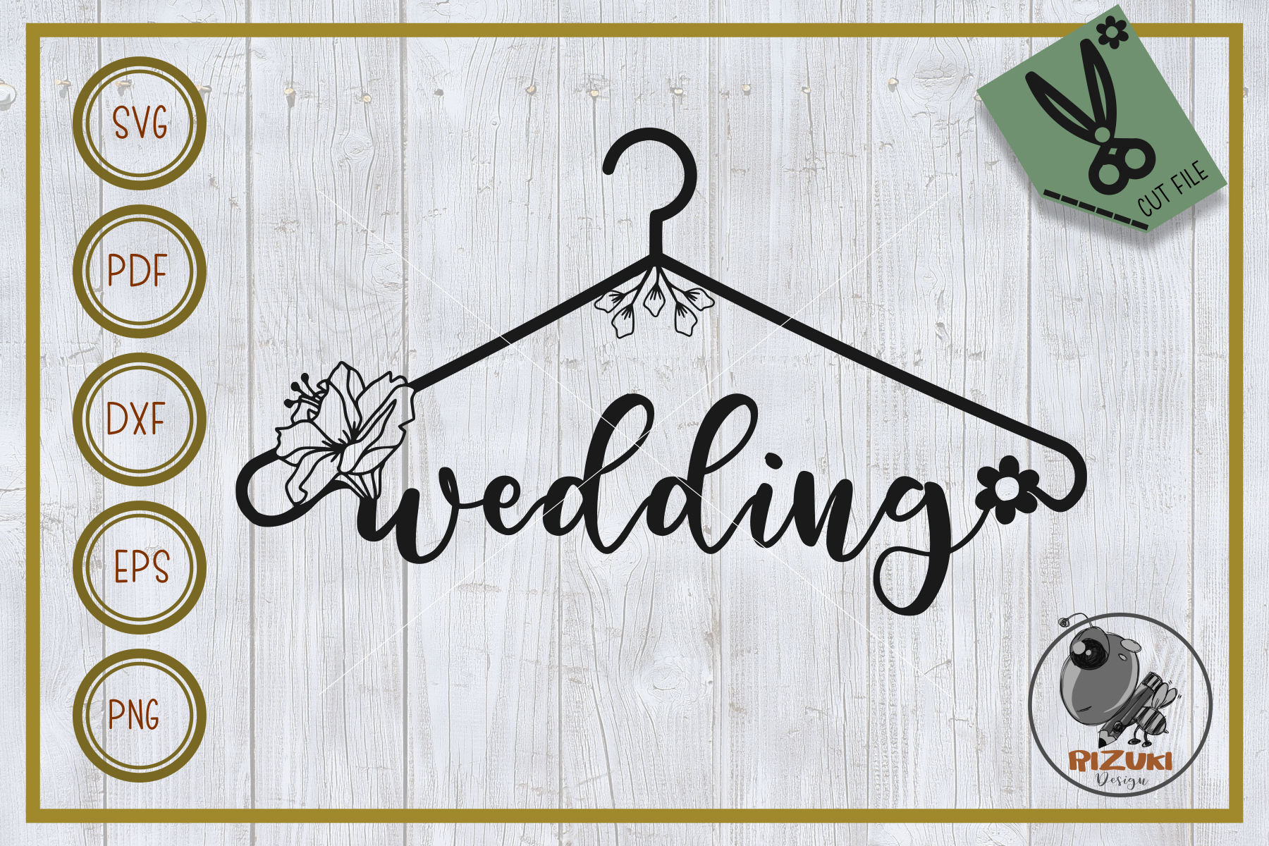 Download Free Wedding Wedding With Hanger Graphic By Rizuki Store for Cricut Explore, Silhouette and other cutting machines.
