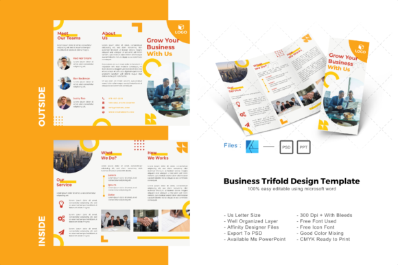 Download Free Yellow Trifold Brochure Design Template Graphic By Rivatxfz for Cricut Explore, Silhouette and other cutting machines.