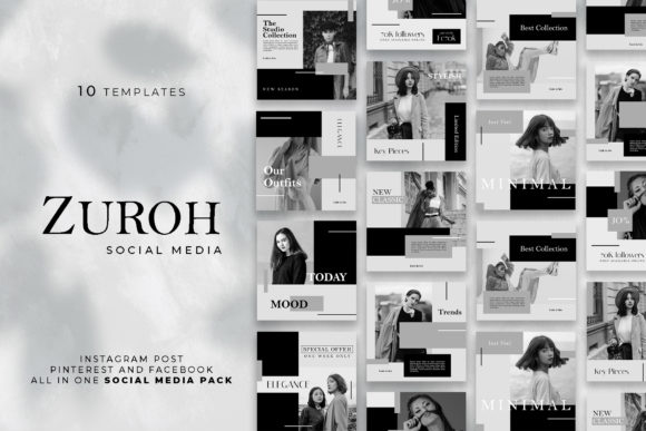 Download Free Zuroh Social Media Template Graphic By Vectst Creative Fabrica for Cricut Explore, Silhouette and other cutting machines.