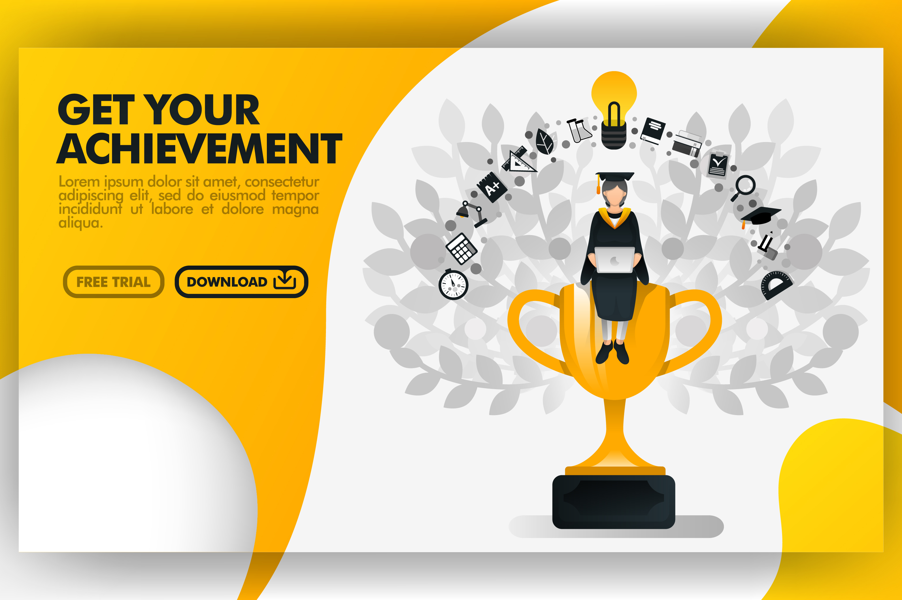 Download Free Banner Of Get Your Achievement Graphic By Setiawanarief111 Creative Fabrica for Cricut Explore, Silhouette and other cutting machines.