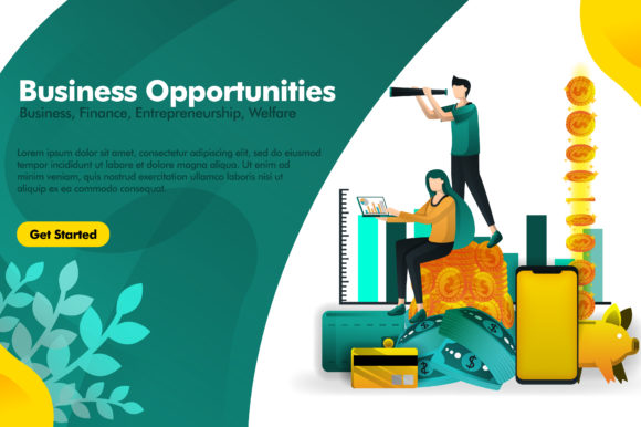 Print on Demand: Banner of Opportunities with Binocular Graphic Graphic Templates By setiawanarief111
