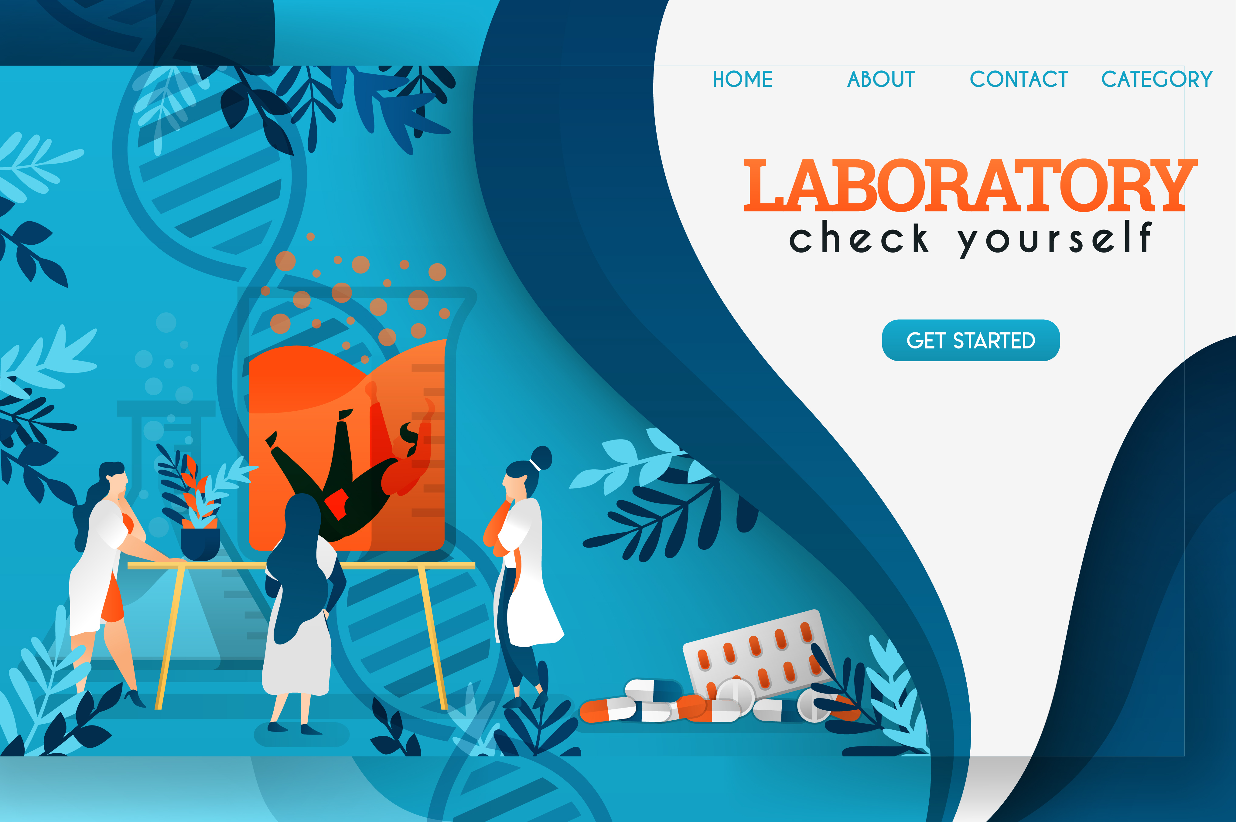 Banner Of Scientists In Laboratory Graphic By Setiawanarief111