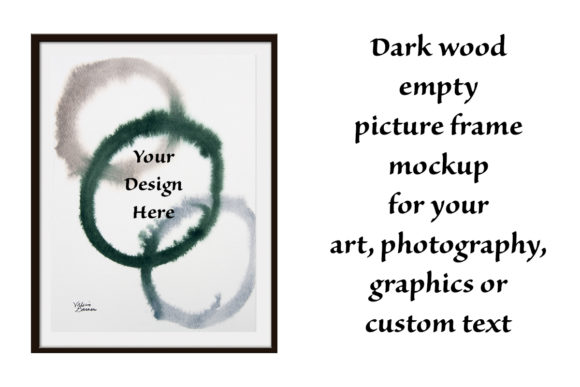 Print on Demand: Dark Wood Picture Frame Mockup Graphic Print Templates By A Design in Time