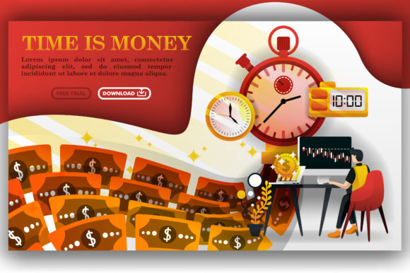 Print on Demand: Finance Illustration of Time is Money Graphic Graphic Templates By setiawanarief111