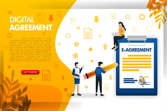 Print on Demand: Landing Page of People Signing Agreement Graphic Graphic Templates By setiawanarief111