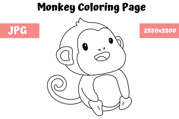 Print on Demand: Monkey Coloring Book Page for Kids Graphic Coloring Pages & Books Kids By MyBeautifulFiles