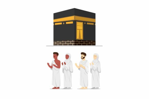 Download Free Muslim People Wearing Ihram Hajj Kabah Graphic By Aryo Hadi for Cricut Explore, Silhouette and other cutting machines.