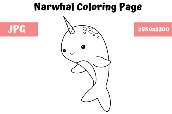 Print on Demand: Narwhal Coloring Book Page for Kids Graphic Coloring Pages & Books Kids By MyBeautifulFiles