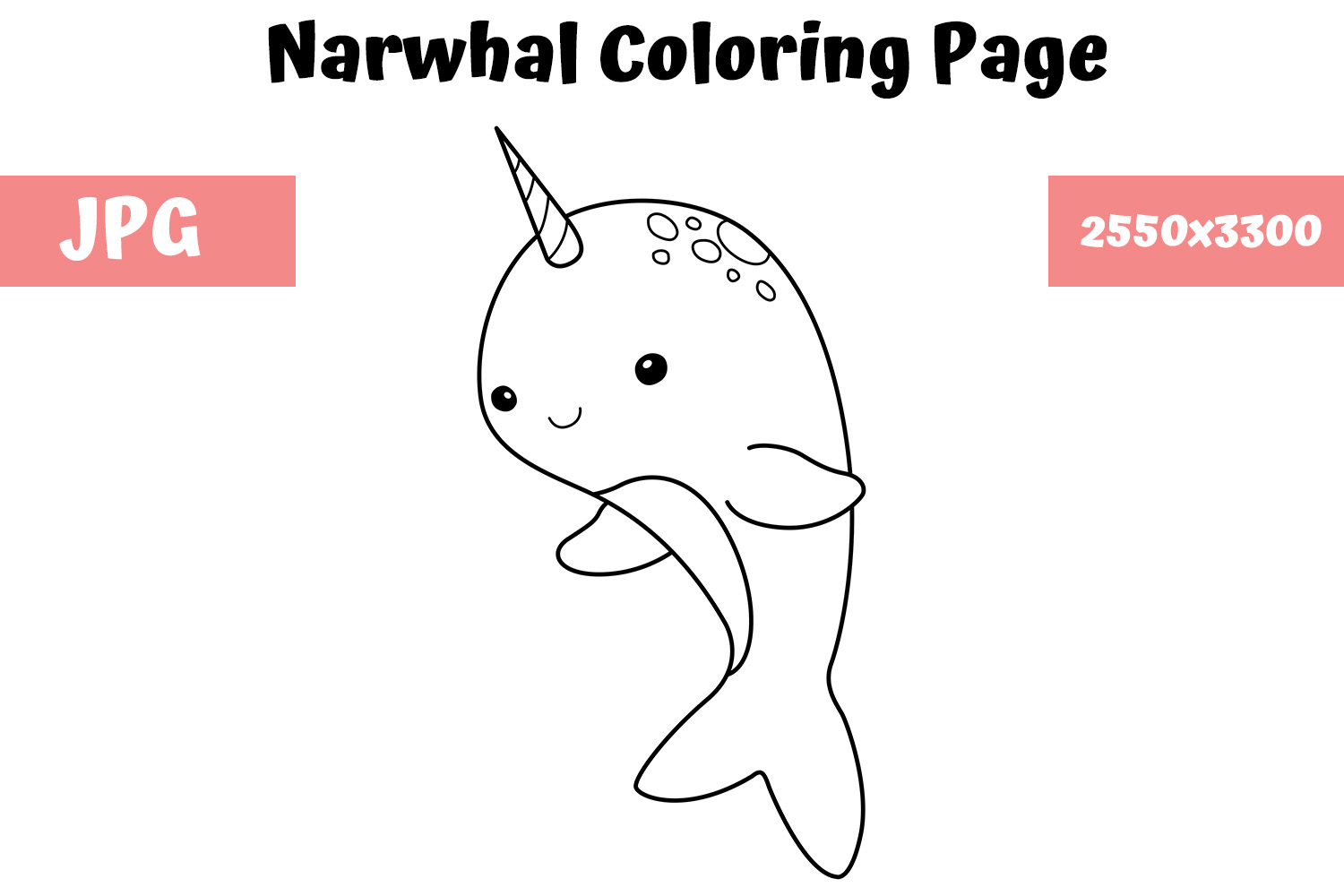 - Narwhal Coloring Book Page For Kids (Graphic) By MyBeautifulFiles