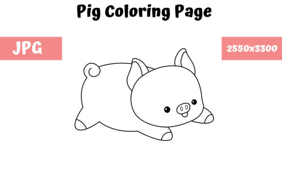 Print on Demand: Pig Coloring Book Page for Kids Graphic Coloring Pages & Books Kids By MyBeautifulFiles