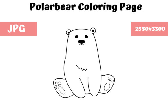 Print on Demand: Polarbear Coloring Book Page for Kids Graphic Coloring Pages & Books Kids By MyBeautifulFiles - Image 1
