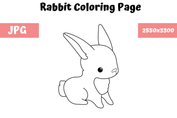 Print on Demand: Rabbit Coloring Book Page for Kids Graphic Coloring Pages & Books Kids By MyBeautifulFiles - Image 1