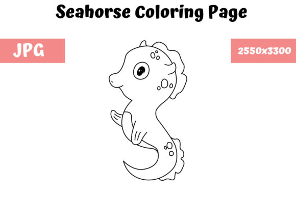Print on Demand: Seahorse Coloring Book Page for Kids Graphic Coloring Pages & Books Kids By MyBeautifulFiles - Image 1