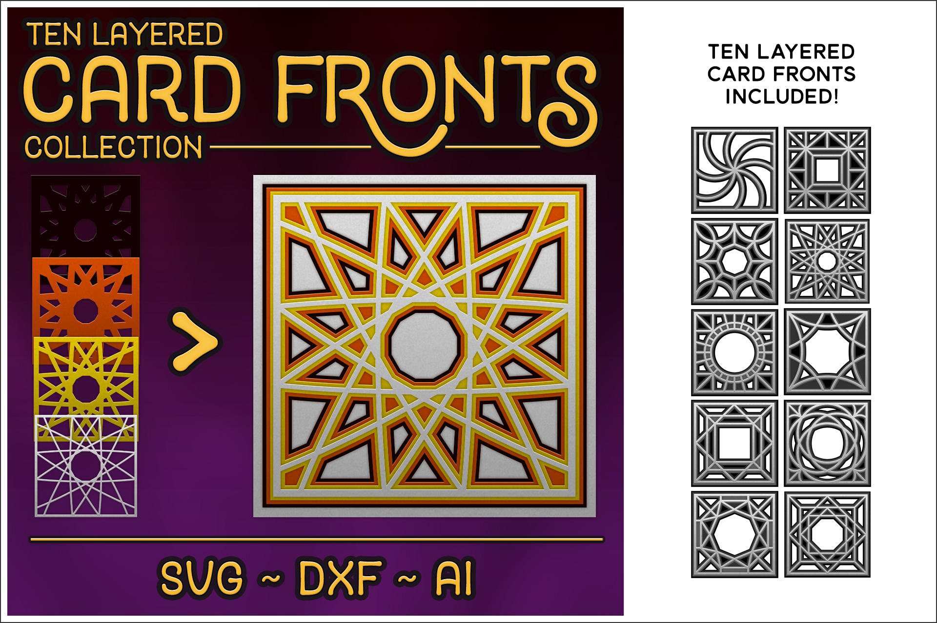 Download Free 10 Layered Card Front Cutting File Set Graphic By for Cricut Explore, Silhouette and other cutting machines.