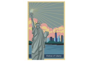 Vintage Statue of Liberty Poster U.S.A. Craft Cut File By Creative Fabrica Crafts