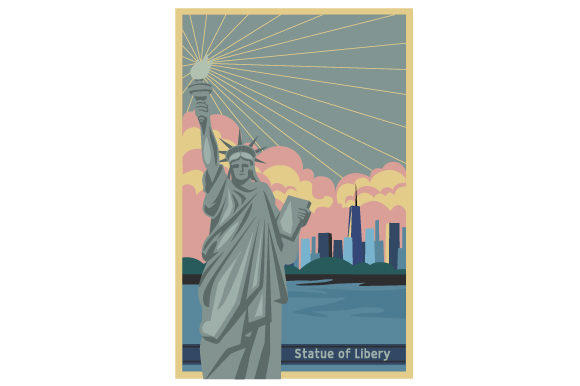 Vintage Statue of Liberty Poster USA Plotterdatei von Creative Fabrica Crafts