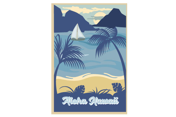 Vintage Hawaii Poster Svg Cut File By Creative Fabrica Crafts