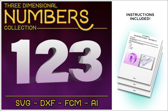 Print on Demand: 3D Numbers Cutting File Set Graphic 3D SVG By gentlemancrafter
