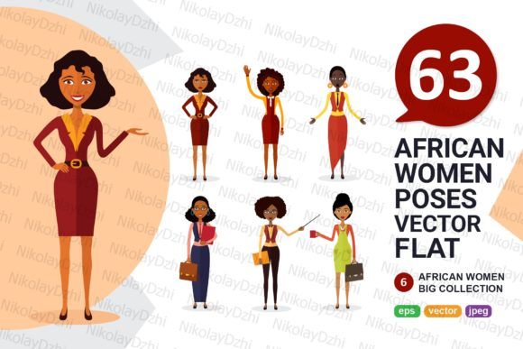 Download Free 6 African Varios Women Character Vector Graphic By Niko Dzhi for Cricut Explore, Silhouette and other cutting machines.