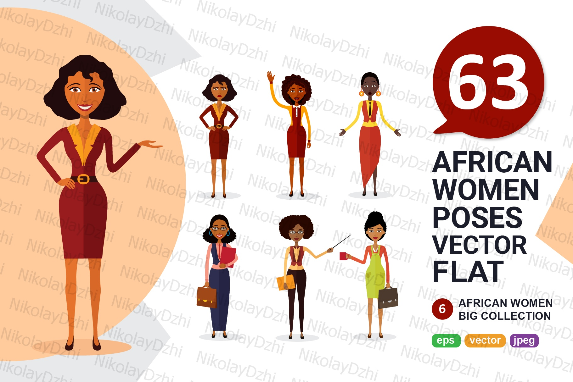 Download Free 6 African Varios Women Character Vector Graphic By Niko Dzhi SVG Cut Files