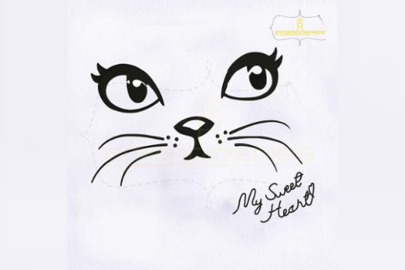 Adorable Cat Face Cats Embroidery Design By RoyalEmbroideries - Image 1