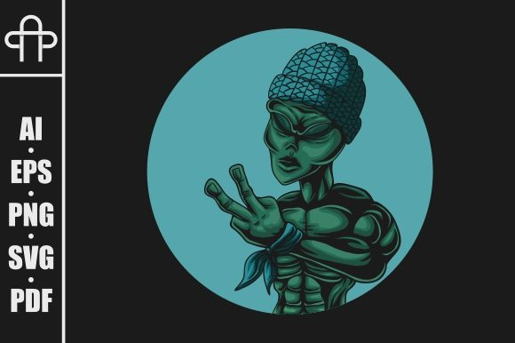 Alien Peace Vector Illustration Graphic By Andypp Creative Fabrica