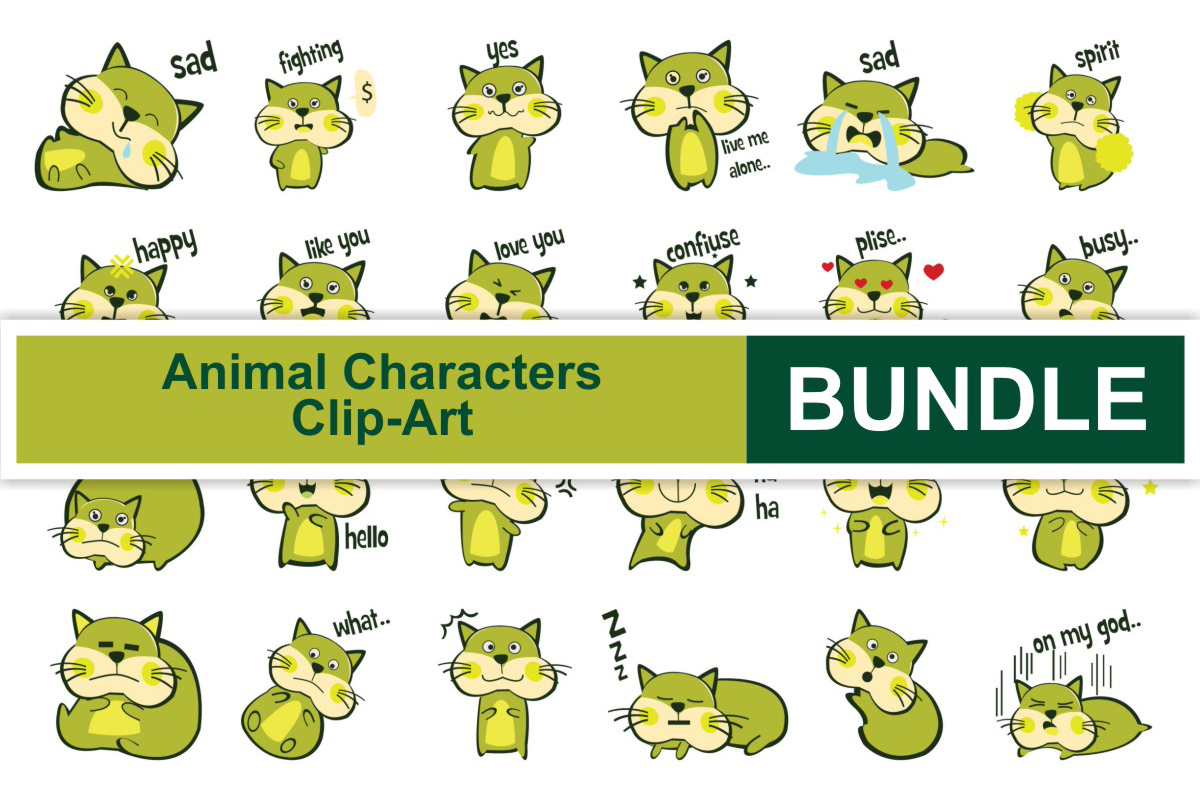 Download Free Animal Characters Clipart Bundle Bundle Creative Fabrica for Cricut Explore, Silhouette and other cutting machines.