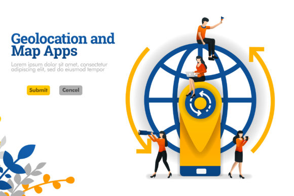 Download Free Banner Of Geolocation And Maps Apps Graphic By Setiawanarief111 Creative Fabrica for Cricut Explore, Silhouette and other cutting machines.