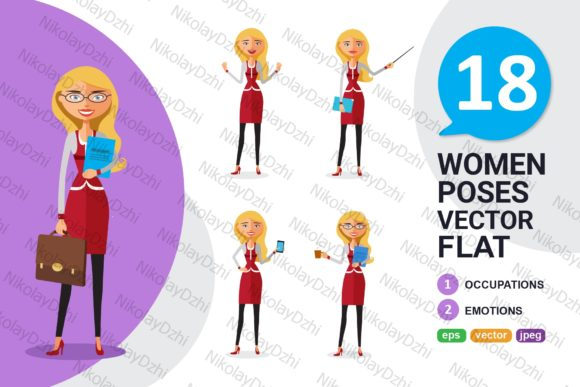 Blonde Woman Business Character Set Graphic Illustrations By Niko Dzhi