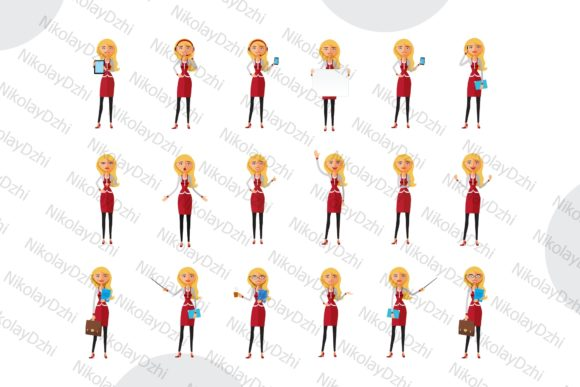 Download Free Blonde Woman Business Character Set Graphic By Niko Dzhi for Cricut Explore, Silhouette and other cutting machines.