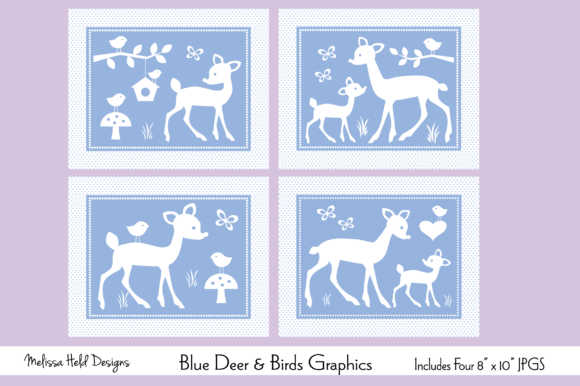 Download Free Blue Baby Deer And Birds Graphics Graphic By Melissa Held for Cricut Explore, Silhouette and other cutting machines.