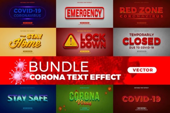 Print on Demand: Bundle Corona Editable Font Effect Text Gráfico Estilos de capas Por diqtam