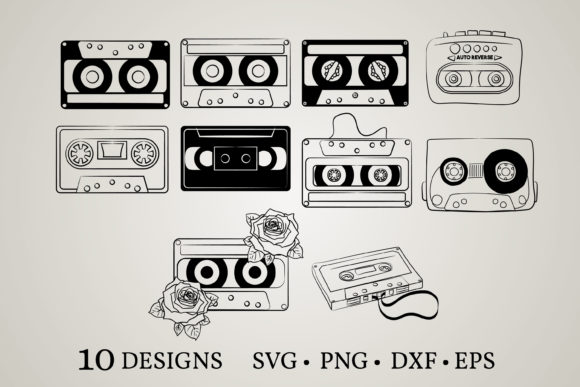 Cassette Bundle Graphic Print Templates By Euphoria Design