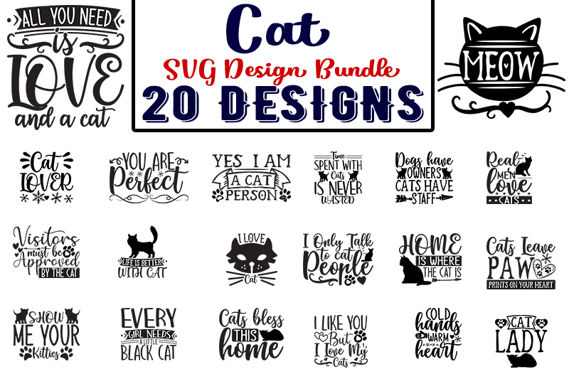 Download Free Cat Bundle Graphic By Design Store Creative Fabrica for Cricut Explore, Silhouette and other cutting machines.
